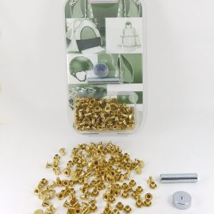 7 mm Caps & 7mm Backs Rivet Kit Brass