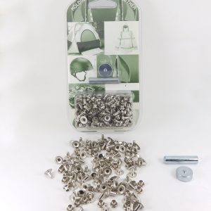 7 mm Caps & 8 mm Backs Rivet Kit Brass Nickel Plated
