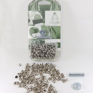 7 mm Caps & 9 mm Backs Rivet Kit Brass Nickel Plated